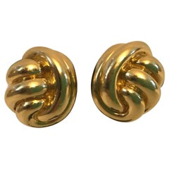 Tiffany & Co. 18k Yellow Gold Knot Motif Clip on Earrings Vintage & Rare