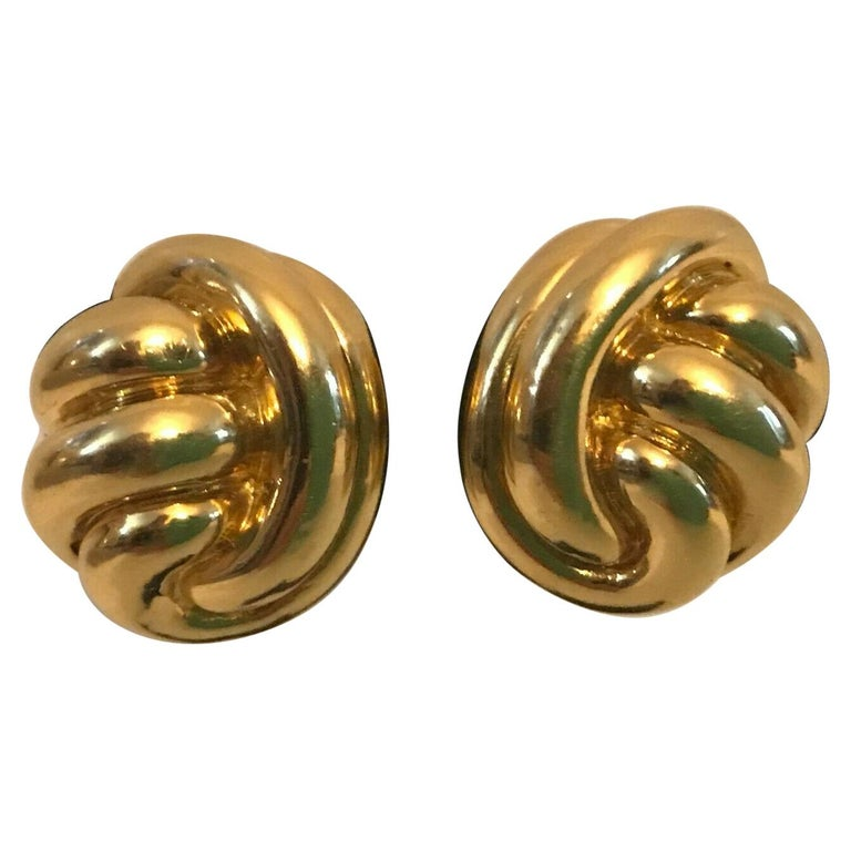 Tiffany & Co. 18k Yellow Gold Knot Motif Clip on Earrings Vintage & Rare For Sale