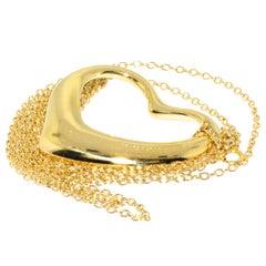 Tiffany & Co. 18 Karat Gold Large Elsa Peretti Open Heart Pendant Necklace