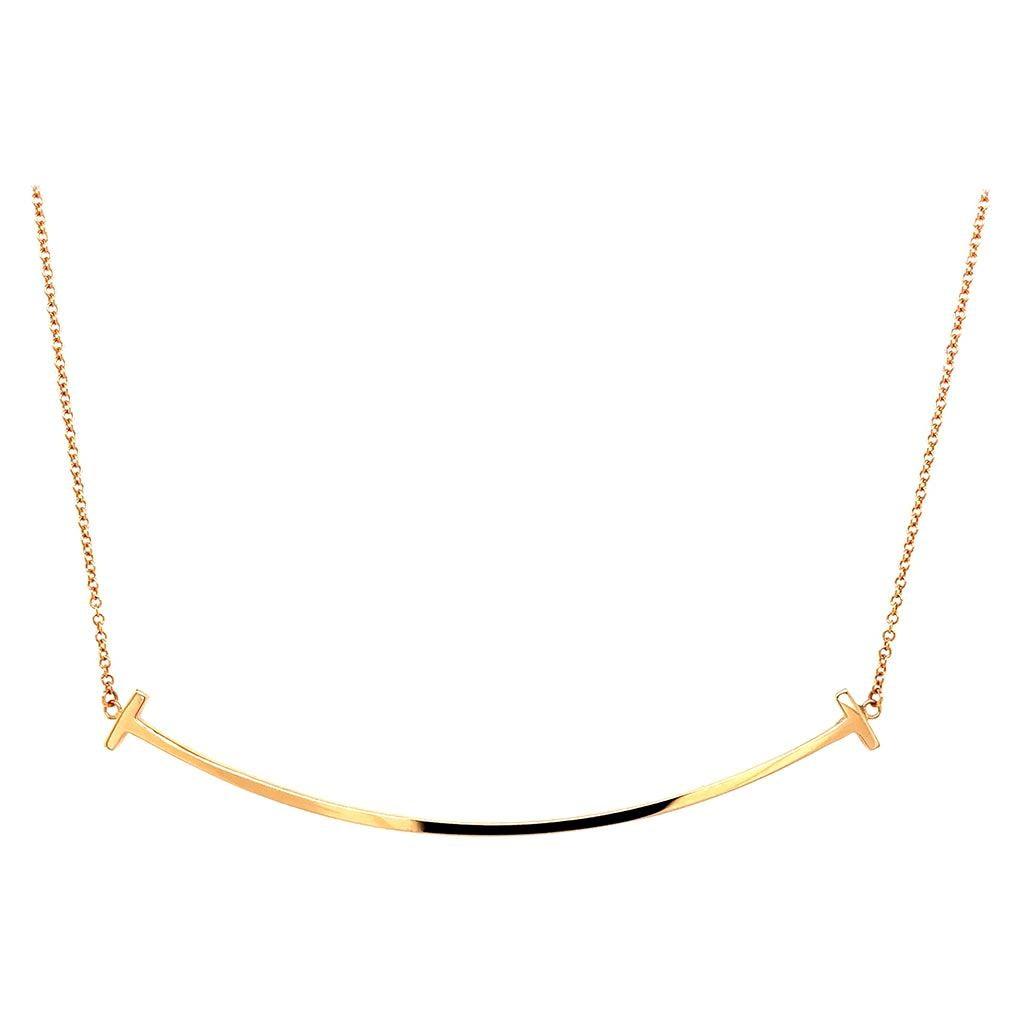 Tiffany & Co. 18k Yellow Gold Large T Smile Pendant Necklace, Estate