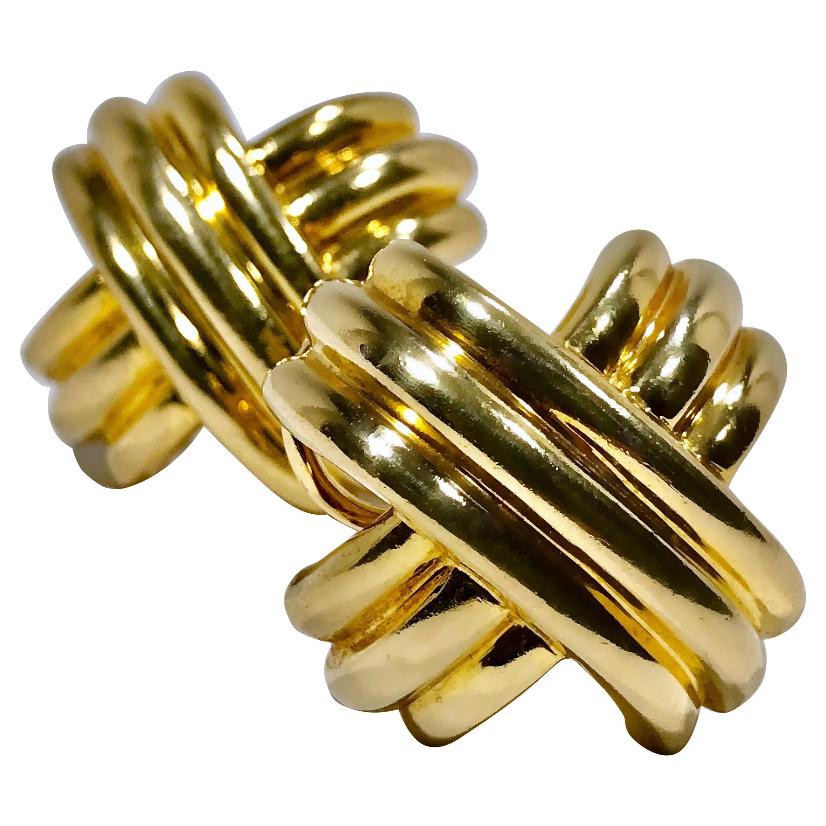 "Tiffany & Co. 18k Yellow Gold Largest Size ""X"" Earrings"