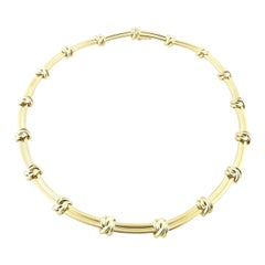 Tiffany & Co. 18k Yellow Gold Love Knot Groove Link Choker