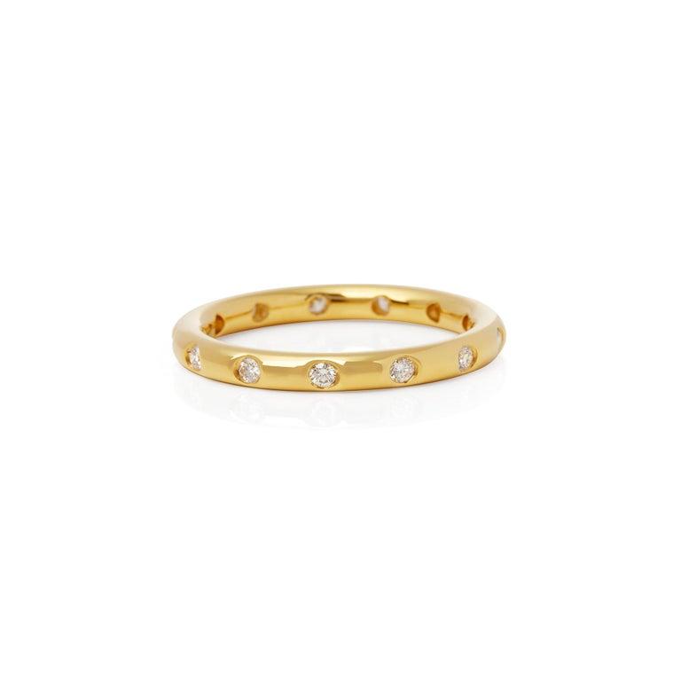 Contemporary Tiffany & Co. 18 Karat Yellow Gold Round Brilliant Cut Diamond Eternity Ring