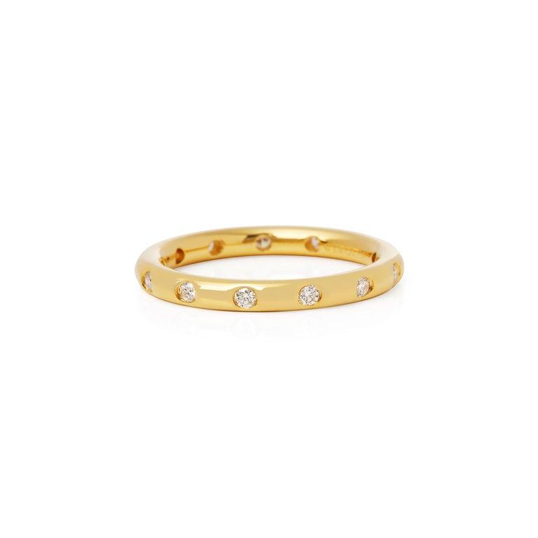 Round Cut Tiffany & Co. 18 Karat Yellow Gold Round Brilliant Cut Diamond Eternity Ring