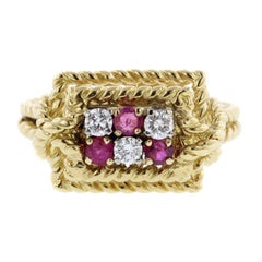 Tiffany & Co. 18 Karat Yellow Gold Ruby and Diamond Ring