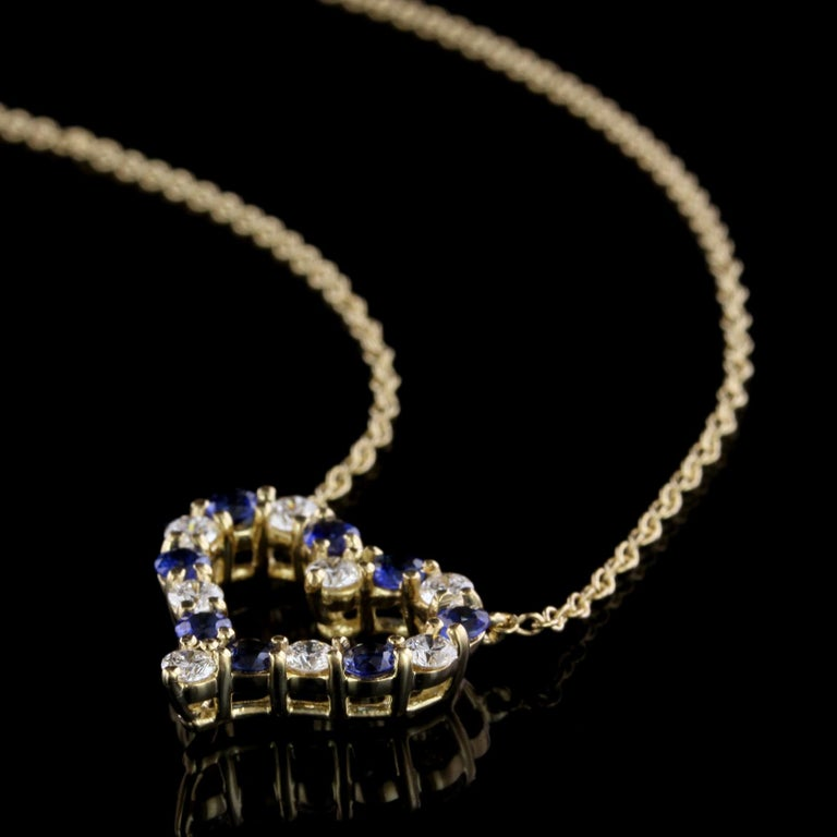 Tiffany & Co. 18 Karat Yellow Gold Sapphire and Diamond Heart Pendant In Excellent Condition For Sale In Nashua, NH