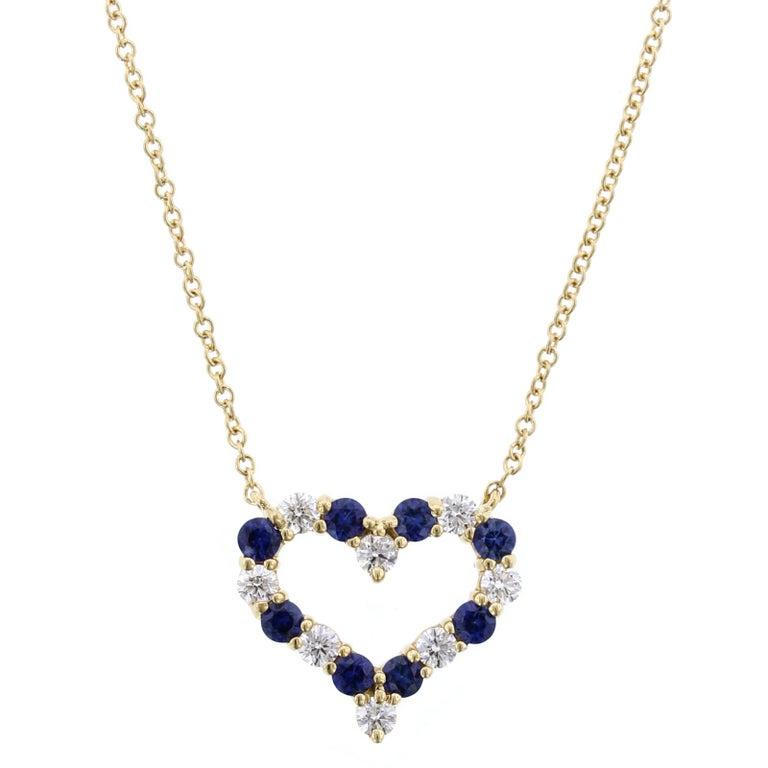 Tiffany & Co. 18 Karat Yellow Gold Sapphire and Diamond Heart Pendant For Sale