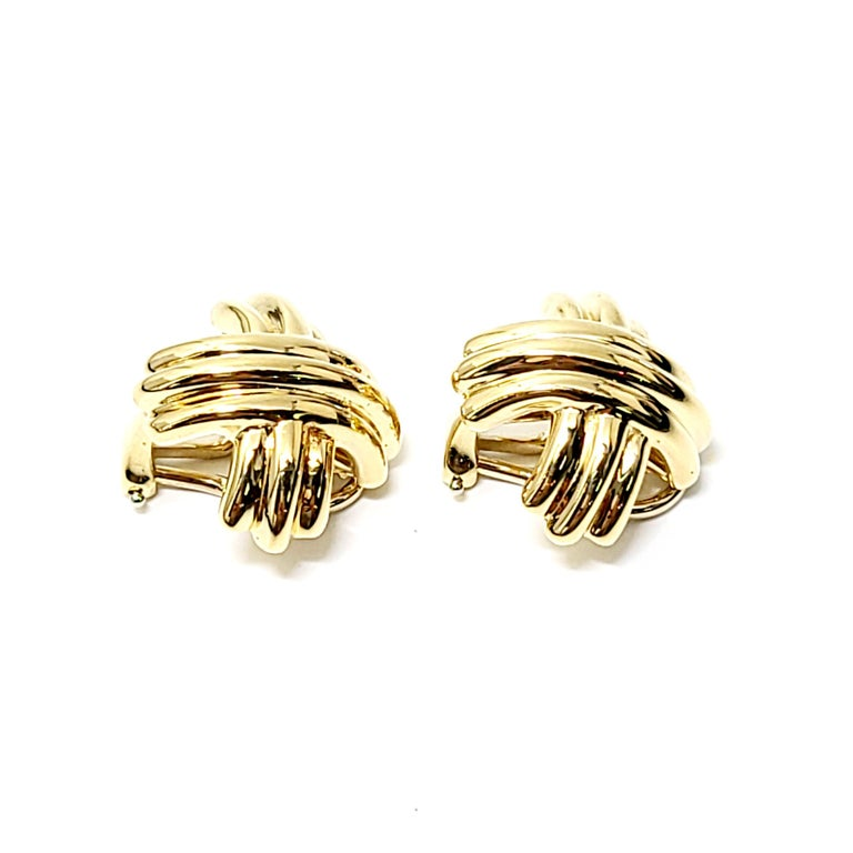 Women's Tiffany & Co. 18 Karat Yellow Gold Signature X Clip-On Earrings For Sale