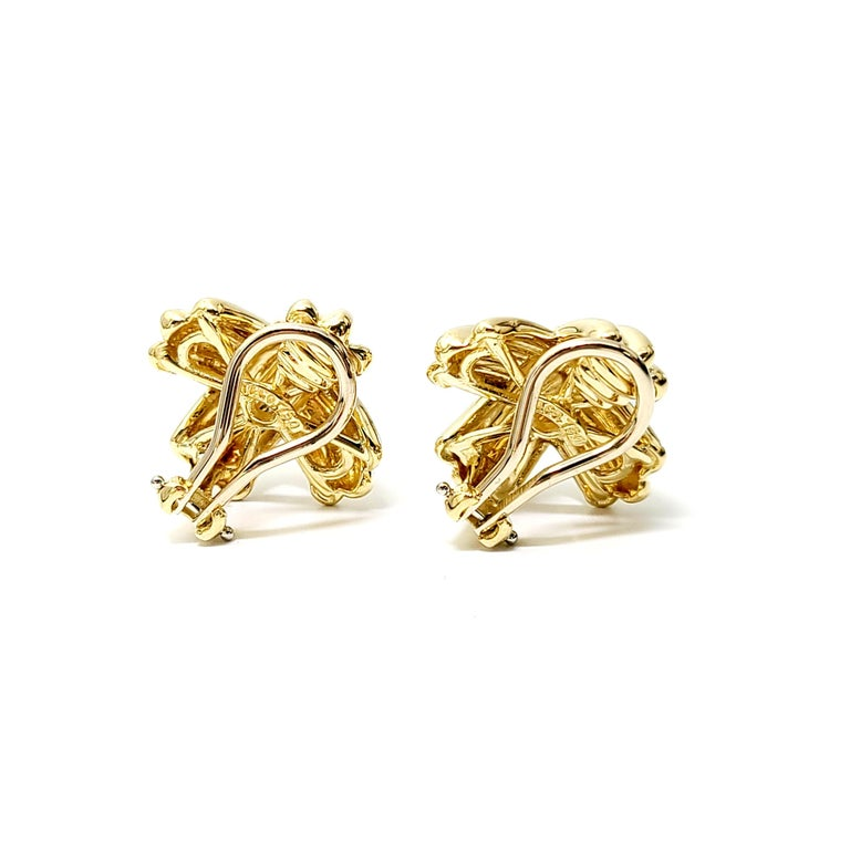 Tiffany & Co. 18 Karat Yellow Gold Signature X Clip-On Earrings For Sale 1