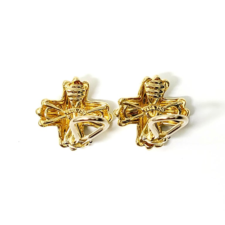 Tiffany & Co. 18 Karat Yellow Gold Signature X Clip-On Earrings For Sale 3