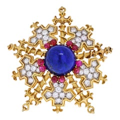 Tiffany & Co. 18k Yellow Gold Snowflake with Lapis, Rubies and Diamonds Brooch