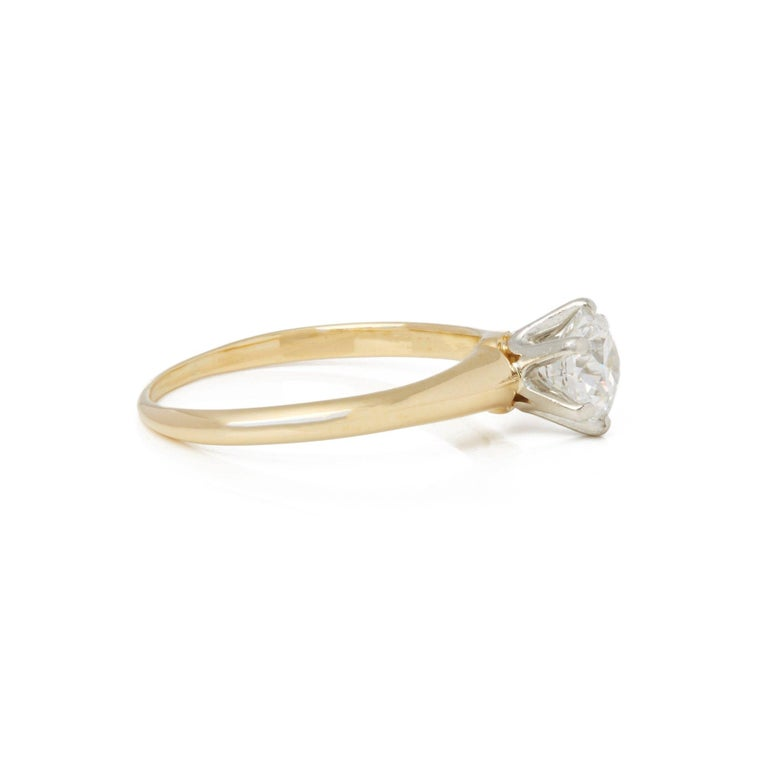 Contemporary Tiffany & Co. 18 Karat Yellow Gold Solitaire Diamond Ring For Sale