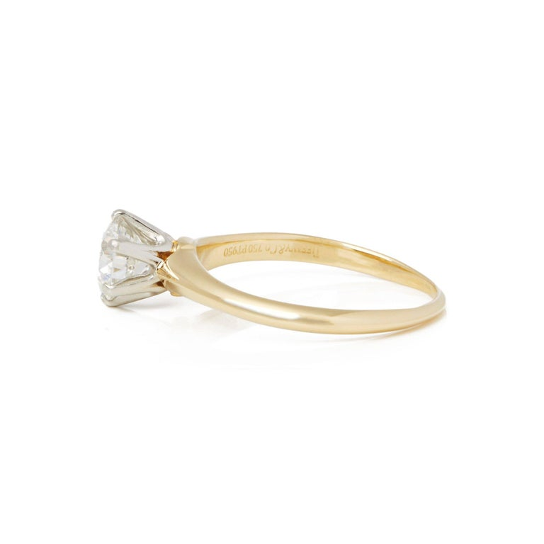 Brilliant Cut Tiffany & Co. 18 Karat Yellow Gold Solitaire Diamond Ring For Sale