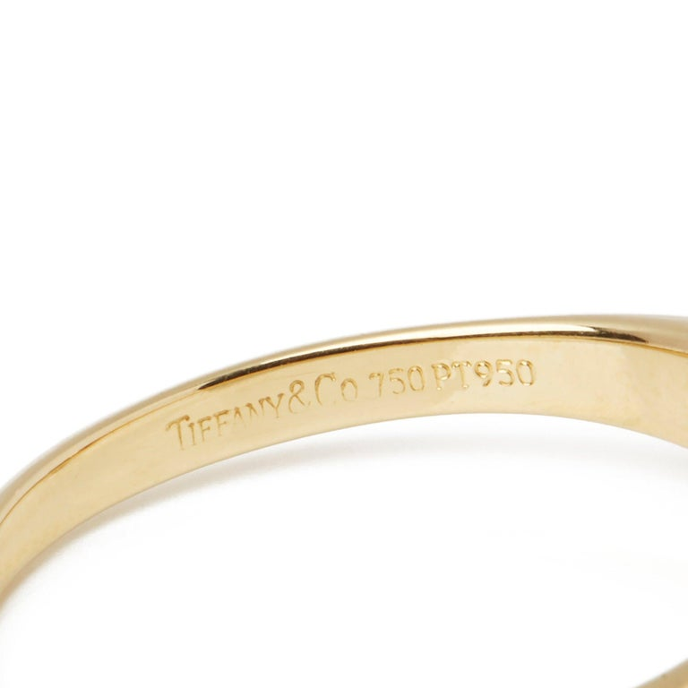 Women's Tiffany & Co. 18 Karat Yellow Gold Solitaire Diamond Ring For Sale