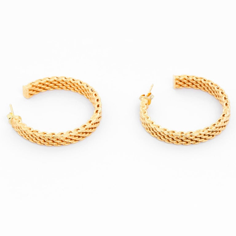 Tiffany & Co. 18K Yellow Gold Somerset Mesh Hoops - Large 1.44 inch gold mesh hoops. Width 4mm. Hallmarked; Tiffany & Co. 750. Pre-owned with Tiffany box.