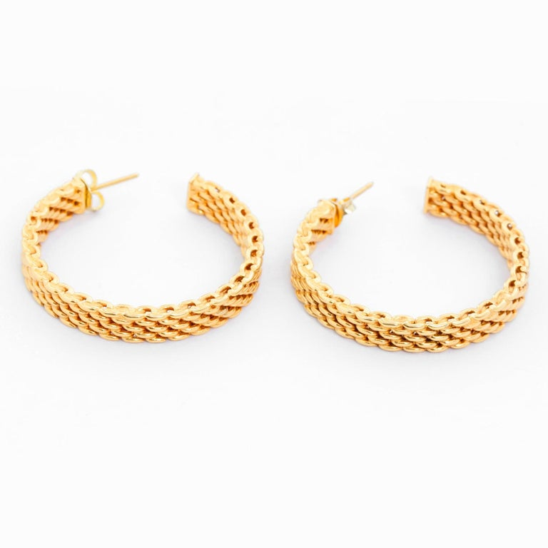 Women's Tiffany & Co. 18 Karat Yellow Gold Somerset Mesh Hoops For Sale