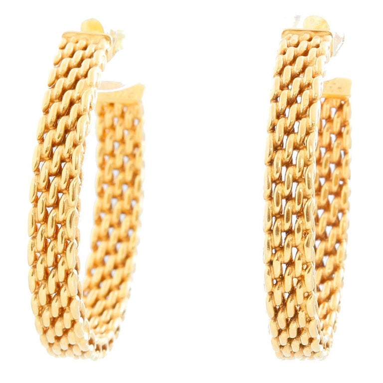 Tiffany & Co. 18 Karat Yellow Gold Somerset Mesh Hoops For Sale
