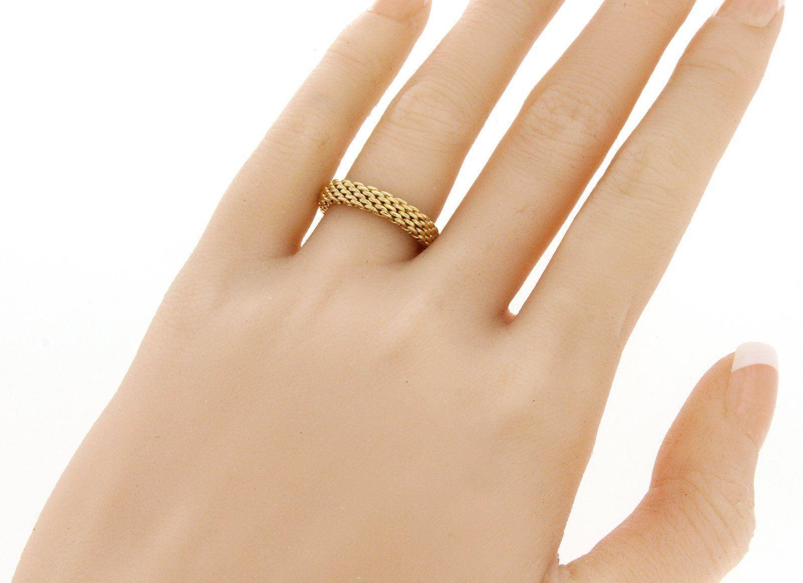 e1613f86f Tiffany and Co. 18 Karat Yellow Gold Somerset Narrow Mesh Band Ring For  Sale at 1stdibs
