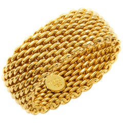 "Tiffany & Co 18K Yellow Gold ""Somerset"" Wide Mesh Ring"