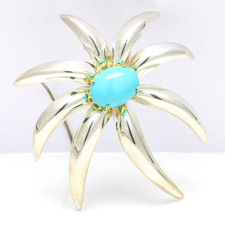 Modern Tiffany & Co. 18 Karat Gold Sterling Silver Fireworks Persian Turquoise Brooch For Sale