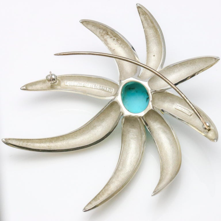 Oval Cut Tiffany & Co. 18 Karat Gold Sterling Silver Fireworks Persian Turquoise Brooch For Sale