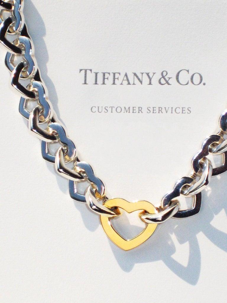 Women's or Men's Tiffany & Co. 18 Karat Yellow Gold and Sterling Silver Heart Bracelet For Sale
