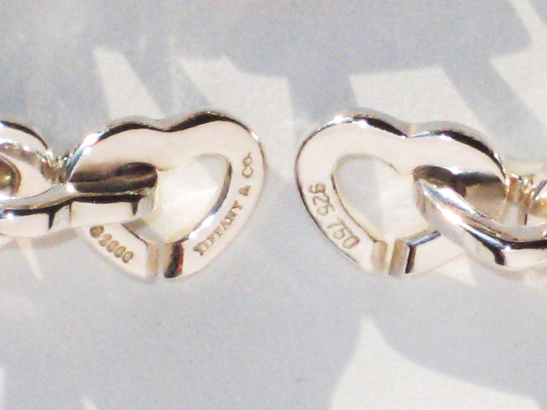 Tiffany & Co. 18 Karat Yellow Gold and Sterling Silver Heart Bracelet For Sale 2