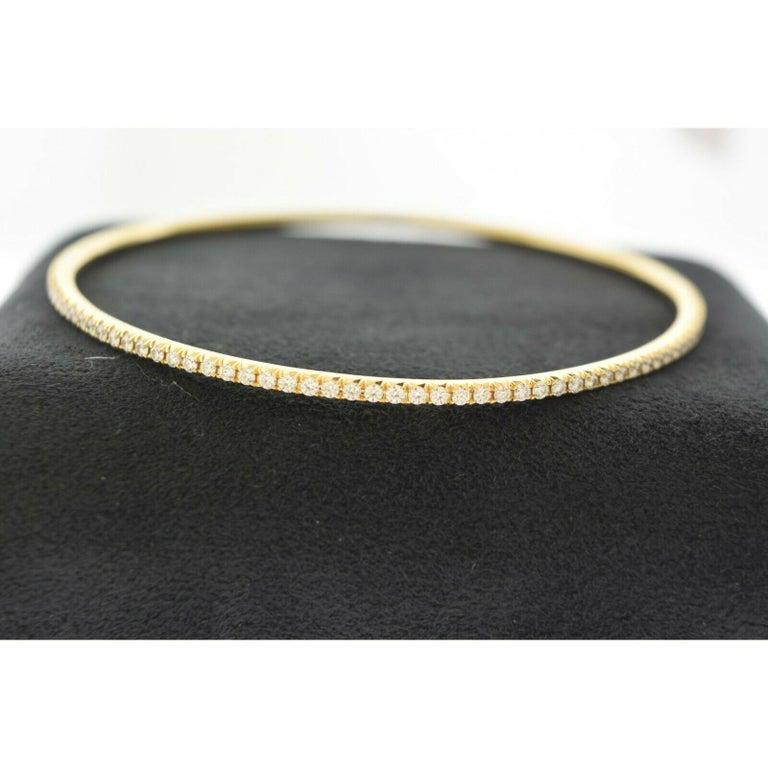 Tiffany & Co. 18 Karat Yellow Gold Tiffany Metro Diamond Bracelet Bangle In Good Condition For Sale In Miami, FL