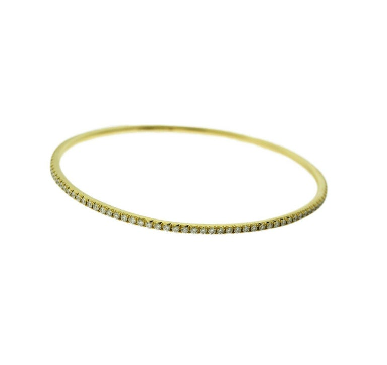 Women's or Men's Tiffany & Co. 18 Karat Yellow Gold Tiffany Metro Diamond Bracelet Bangle For Sale