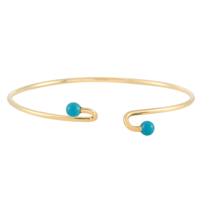 Mixed Cut Tiffany & Co. 18 Karat Yellow Gold Turquoise Bracelet