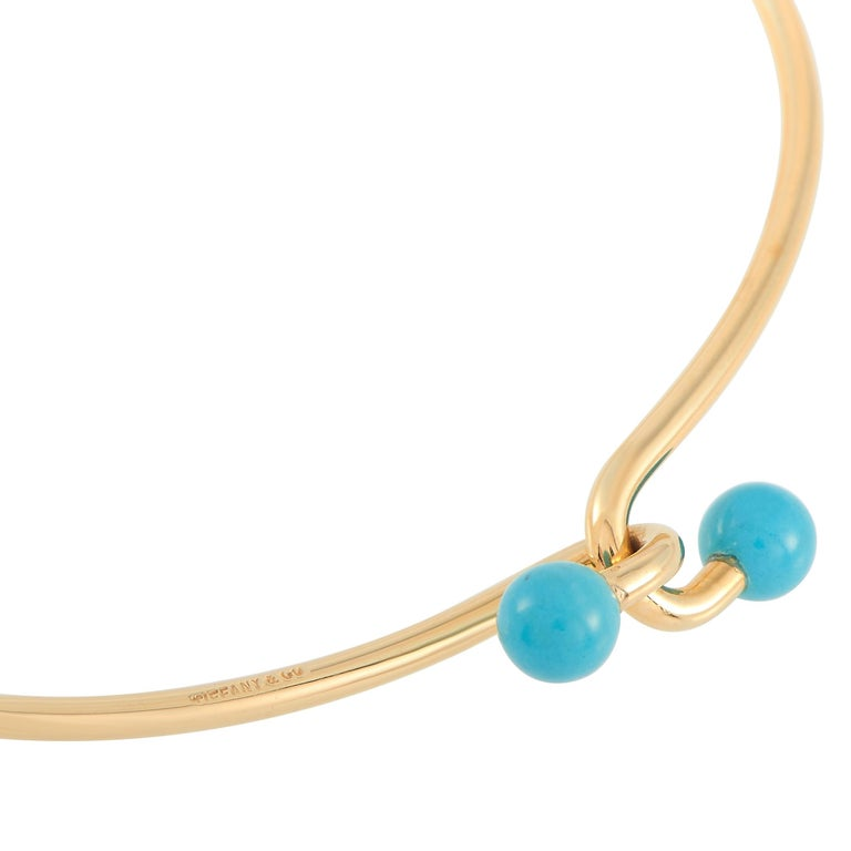 Tiffany & Co. 18 Karat Yellow Gold Turquoise Bracelet In Excellent Condition In Southampton, PA