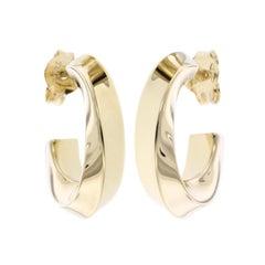 Tiffany & Co. 18 Karat Yellow Gold Twist Hoop Earrings