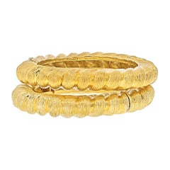 Tiffany & Co. 18K Yellow Gold Two Matching Vintage Bangle Bracelets