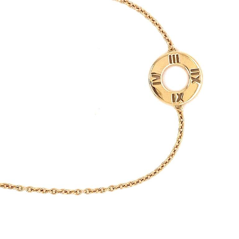 Round Cut Tiffany & Co. 18K Yellow Gold with .02ctw Diamond Atlas Pierced Bracelet For Sale