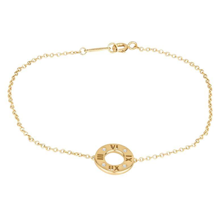 Tiffany & Co. 18K Yellow Gold with .02ctw Diamond Atlas Pierced Bracelet For Sale