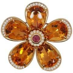 Tiffany & Co. 18K YG Pendant Brooch with Citrine Tourmaline and Round Diamonds