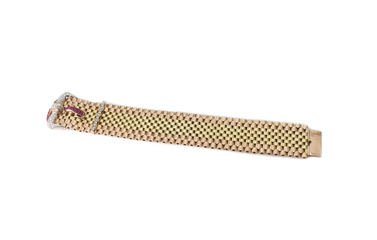 Round Cut Tiffany & Co. 18 Karat Gold Belt Style Bracelet with Rubies and Diamonds For Sale