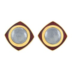 Tiffany & Co. 18kt, Red Enamel and Hematite Clip-On Earrings