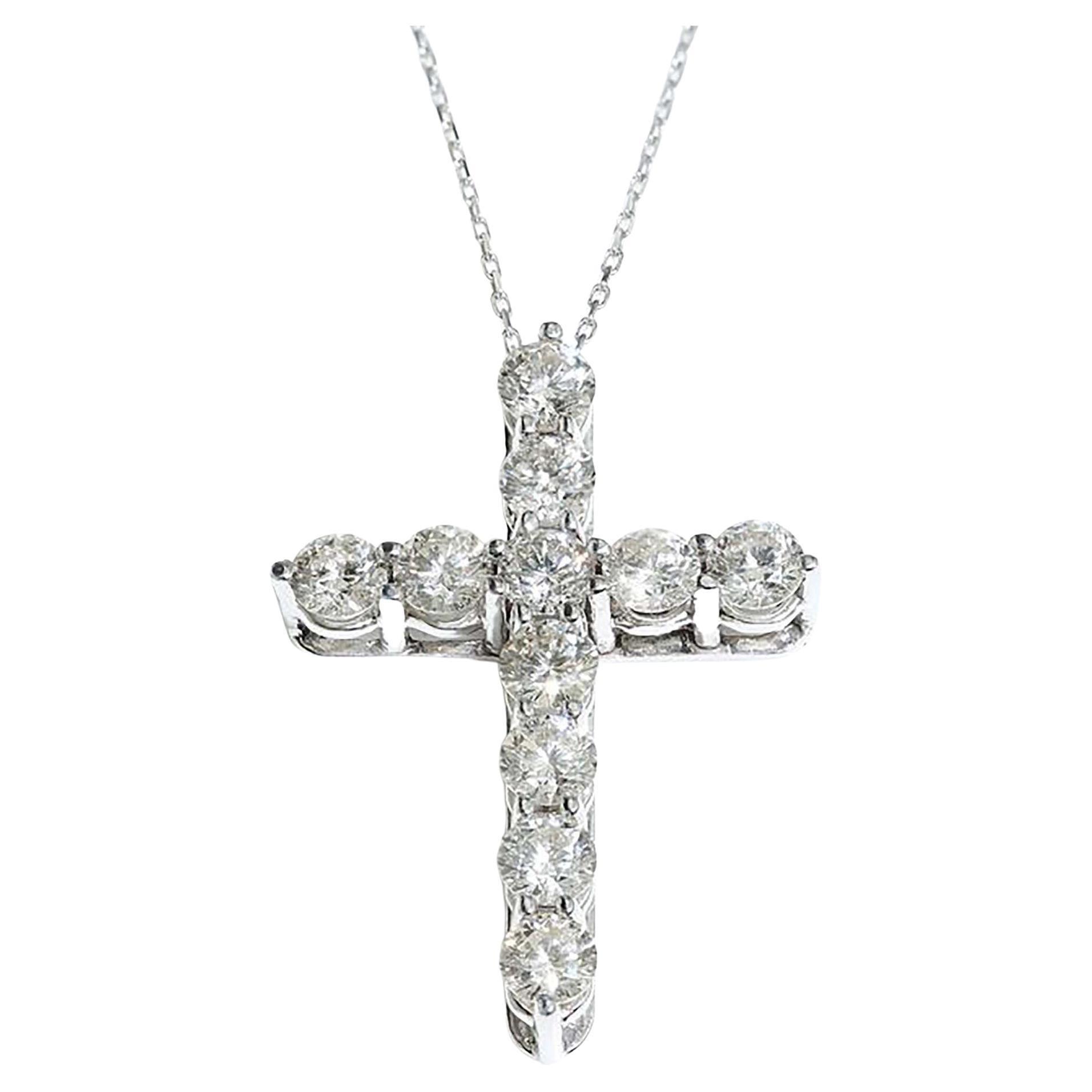 Tiffany & Co 18kt White Gold Cross Pendant with Diamonds
