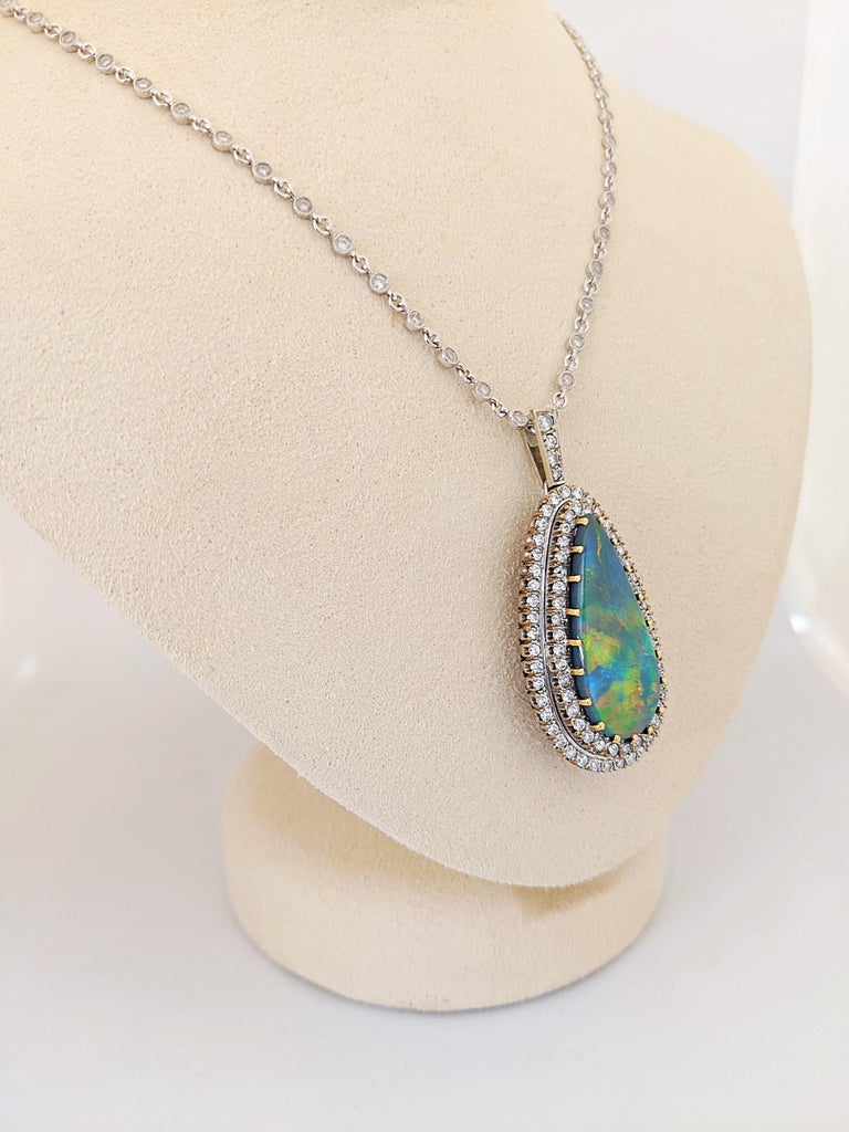 Retro Tiffany & Co. 18 Karat White Gold Opal and Diamond Pendant, circa 1950s For Sale
