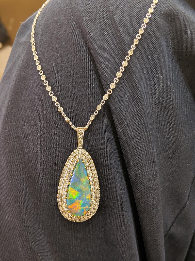 Tiffany & Co. 18 Karat White Gold Opal and Diamond Pendant, circa 1950s In Excellent Condition For Sale In New York, NY