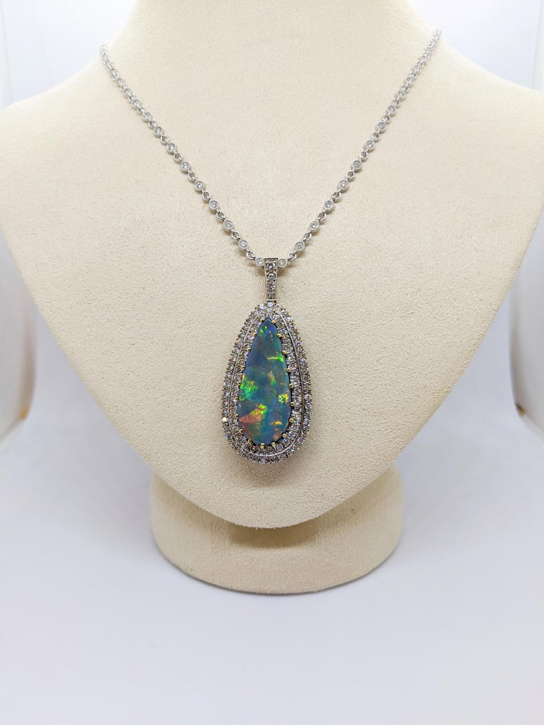 Women's or Men's Tiffany & Co. 18 Karat White Gold Opal and Diamond Pendant, circa 1950s For Sale