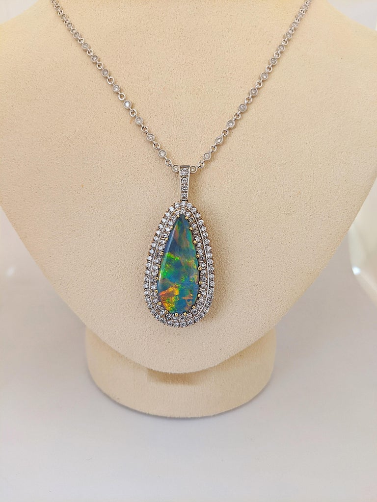 Tiffany & Co. 18 Karat White Gold Opal and Diamond Pendant, circa 1950s For Sale 1