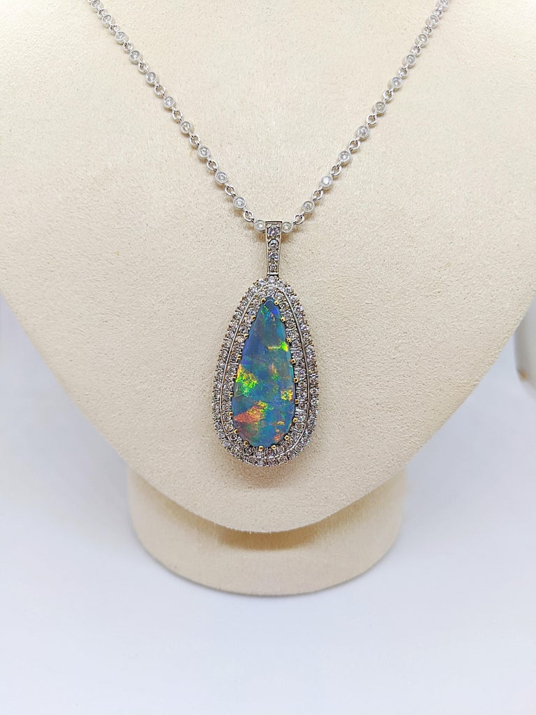 Tiffany & Co. 18 Karat White Gold Opal and Diamond Pendant, circa 1950s For Sale 2