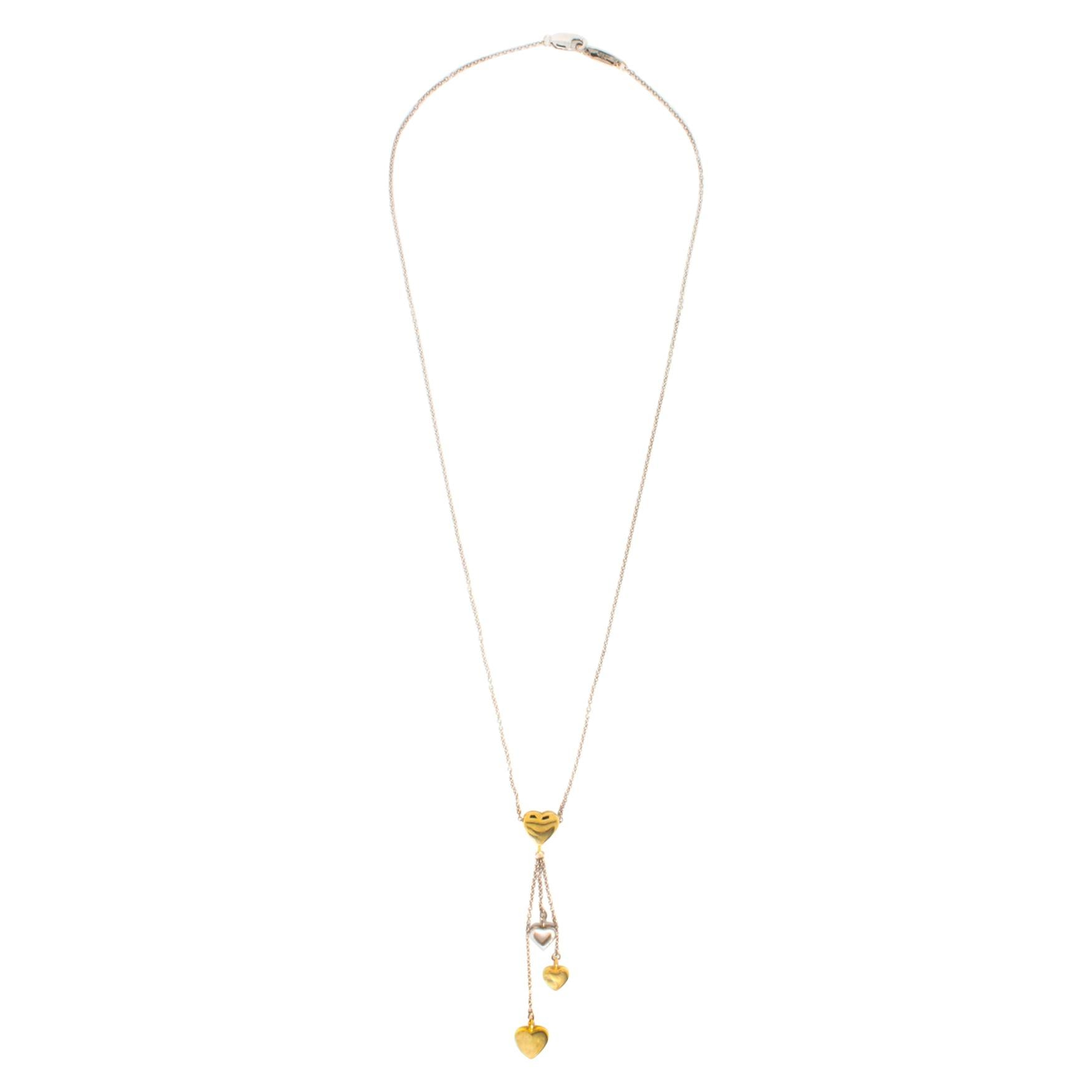 Tiffany & Co. 18kt Yellow and White Gold Ladies Necklace with Heart Charms