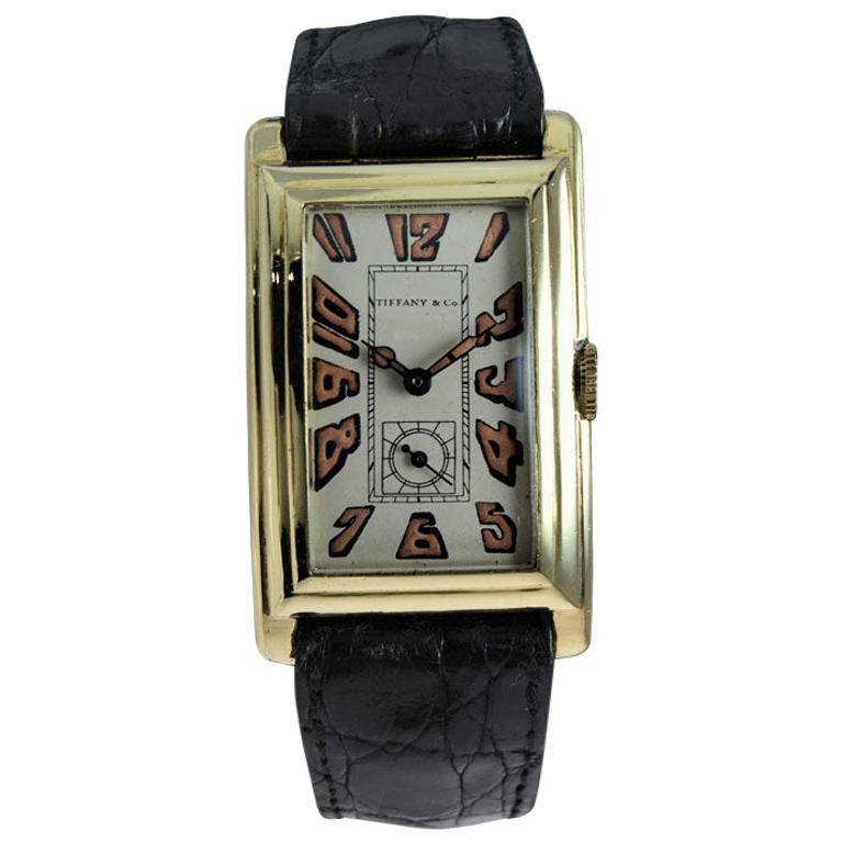 Tiffany & Co. 18Kt Yellow Gold Art Deco Manual Winding Wristwatch, circa 1930s