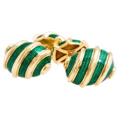 Tiffany & Co. 18 Karat Yellow Gold Green Enamel Cufflinks by Jean Schlumberger