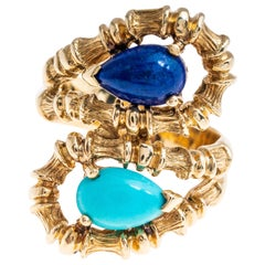 Tiffany & Co. 18 Karat Yellow Gold Lapis and Turquoise Bamboo Ring