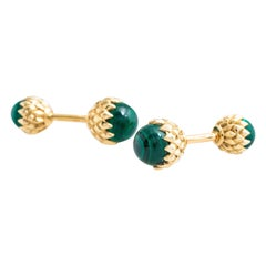 Tiffany & Co. 18 Karat Yellow Gold Malachite Acorn Cufflinks, Jean Schlumberger