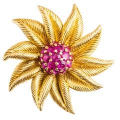 Tiffany & Co. 18 Karat Retro Ruby Sunburst Floral Brooch